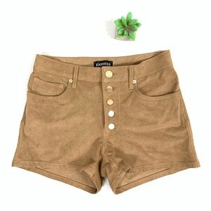 Express High Rise Button Fly Suede Shorts size 4